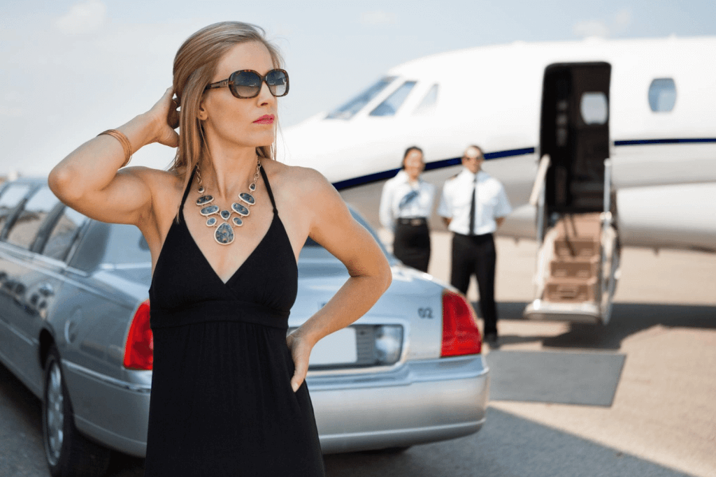 affluent lady outside private jet