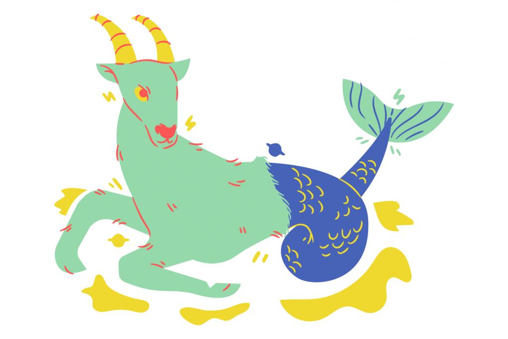 the sea goat zodiac wheel symbol